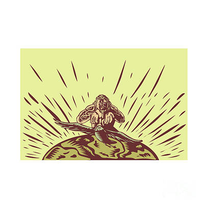 Tagaloa Releasing Bird Plover Earth Woodcut Art Print