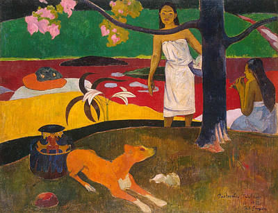 Puppies Painting - Tahitian Pastoral by Paul Gauguin