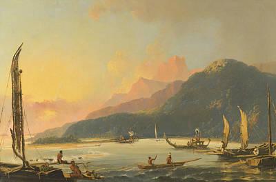 Painting - Tahitian War Galleys In Matavai Bay, Tahiti by Treasury Classics Art