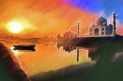 Mixed Media - Taj Mahal Sunrise by Dennis Cox Photo Explorer