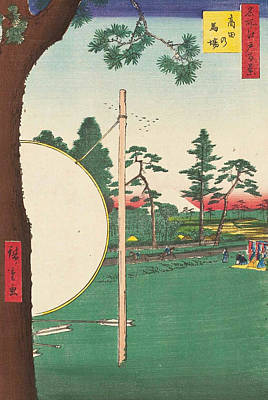 Woodcut Painting - Takata Riding Grounds by Utagawa Hiroshige