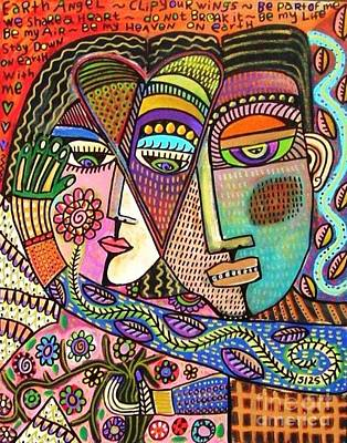 Painting - Talavera Garden Angel Lovers by Sandra Silberzweig
