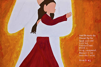 Hugs The Fire Painting - Talitha Cumi by Jennifer Carrico