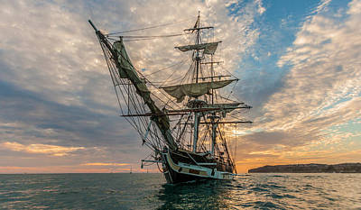 Photograph - Brig Pilgrim And Sunset Off Dana Point by Cliff Wassmann