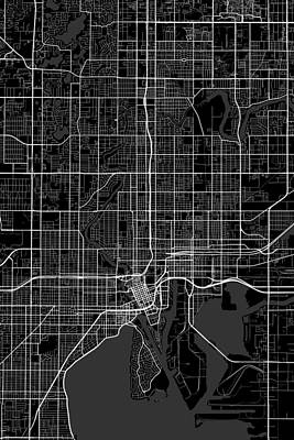 City Map Digital Art - Tampa Florida Usa Dark Map by Jurq Studio