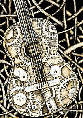 Tangle Guitar Art Print by Delein Padilla