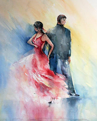 Watercolor Painting - Tango by Natalia Eremeyeva Duarte