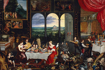 Interior Still Life Painting - Taste, Hearing And Touch by Jan Brueghel the Elder
