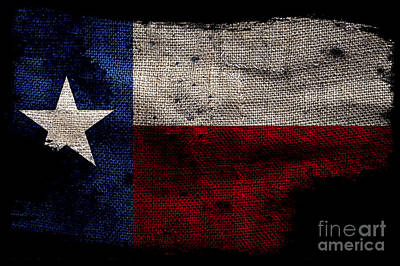 Tattered Lone Star Flag On Black Art Print