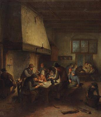 Indoor Still Life Painting - Tavern Scene by Adriaen van Ostade