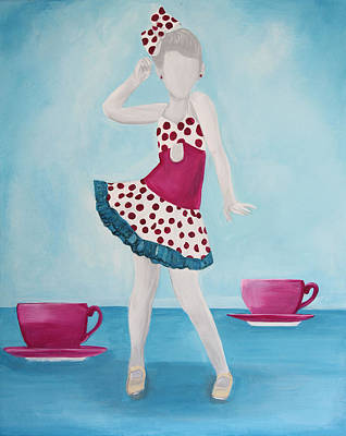 Silver Turquoise Painting - Tea For Two by Kim Chambers