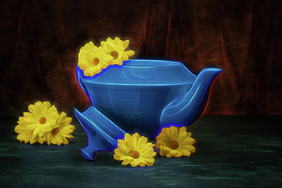 Pottery Photograph - Tea Kettle With Daisies Still Life by Tom Mc Nemar