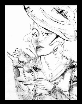 Painting - Tea Party Girl by Anne-D Mejaki - Art About You productions