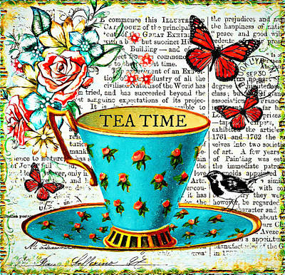 Digital Art - Tea Time by Tina LeCour