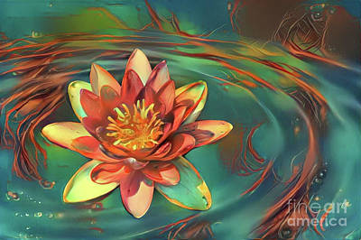 Orange Digital Art - Teal And Peach Waterlilies by Amy Cicconi