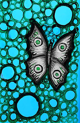 Painting - Teal Butterfly by Brenda Higginson