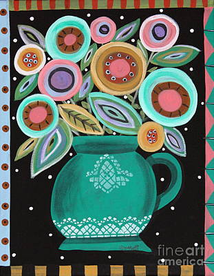 Folk Art Painting - Teal Pot by Karla Gerard
