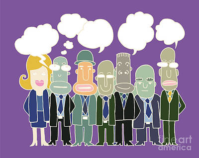 Team Of  Business People Stand And Talk In Speech Bubbles Art Print by Pakpong Pongatichat