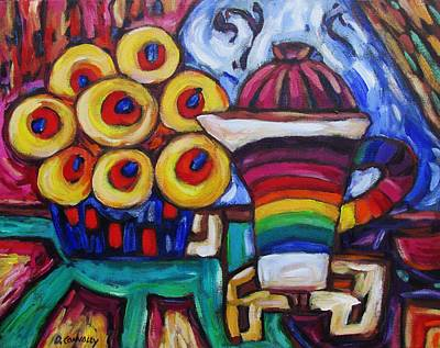 Painting - Rainbow Sripey Teapot And Flowers by Dianne Connolly