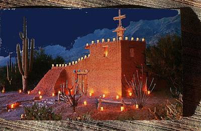 Ted Degrazia's Little Gallery Mission In The Sun Tucson Petley Postcard C.1968-2013 Print by David Lee Guss