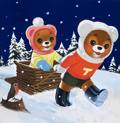 Winter Fun Painting - Teddy Bear  by William Francis Phillipps