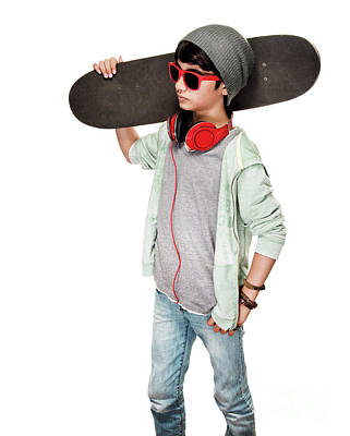 Photograph - Teen Boy With Skateboard by Anna Om