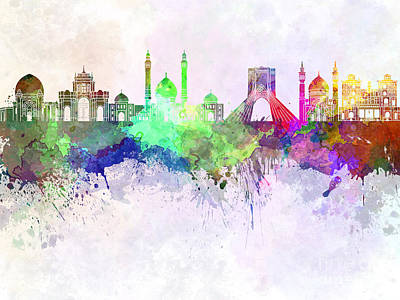 Iran Painting - Tehran Skyline In Watercolor Background by Pablo Romero