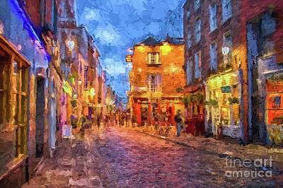 Photograph - Temple Bar District In Dublin At Night by Patricia Hofmeester