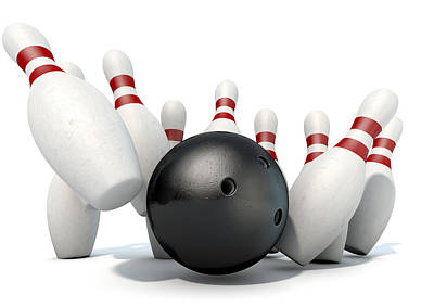 Knocked Digital Art - Ten Pin Bowling Pins And Ball by Allan Swart