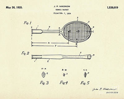 Racket Painting - Tennis Racket-1925 by Pablo Romero