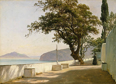 Painting - Terrace With Oak, Sorrento by Thomas Fearnley