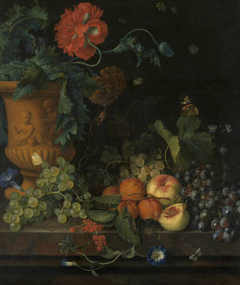 Painting - Terracotta Vase With Flowers And Fruits by Jan van Huysum