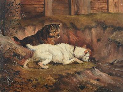 Alfred Wheeler Painting - Terriers Ratting by Alfred Wheeler