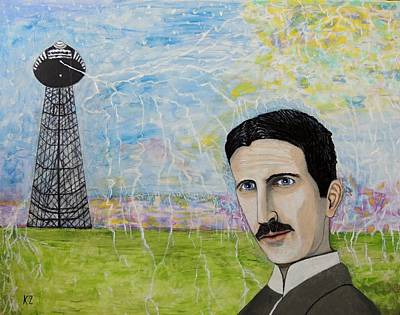 Painting - Tesla's Tower. by Ken Zabel