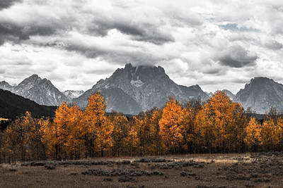 Color On Black Photograph - Teton Fall by Sean Ramsey