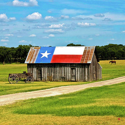 Digital Art - Texas Barn by Gary Grayson