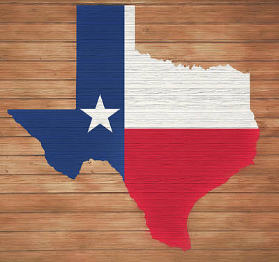Mixed Media - Texas Rustic Map On Wood by Dan Sproul