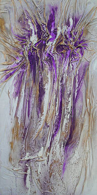 Mixed Media - Textured Purple And Gold Series 2 by Angela Stout