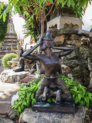 Photograph - Thai Yoga Statue At Famous Wat Pho Temple by Helissa Grundemann