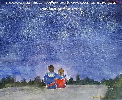 Nightsky Painting - Thank You Love by Geeta Biswas