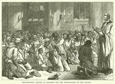 Thanksgiving Service At Midnight For The Emancipation Of The Slaves Art Print by English School