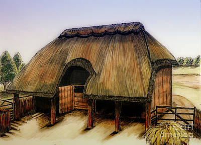 Thatched Barn Of Old Art Print by Shari Nees