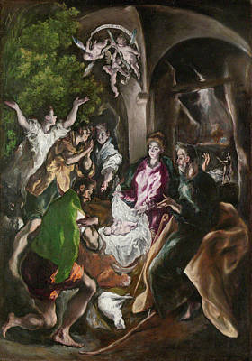 Spanish Painting - The Adoration Of The Shepherds by El Greco
