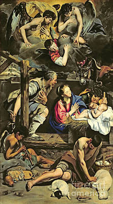 The Church Painting - The Adoration Of The Shepherds by Fray Juan Batista Maino or Mayno