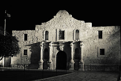 Photograph - The Alamo At Night - San Antonio Texas by Gregory Ballos