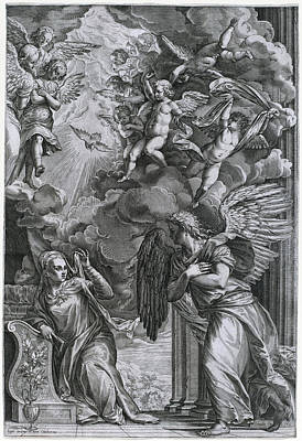 Drawing - The Annunciation by Cornelis Cort after Titian