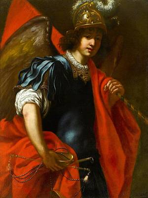 Flag Painting - The Archangel Michael by Jacopo Vignali