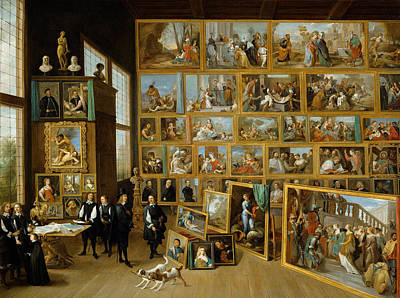 Display Window Painting - The Art Collection Of Archduke Leopold Wilhelm In Brussels by David Teniers the Younger