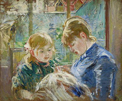 Children Painting - The Artist's Daughter, Julie, With Her Nanny by Berthe Morisot