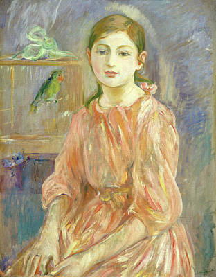 Parrot Painting - The Artist's Daughter With A Parakeet by Berthe Morisot